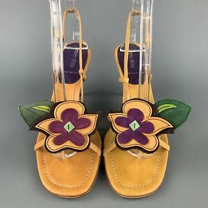 MIU Size US 8.5 / EU 38 Mustard Flower Applique Leather Slingback Sandals