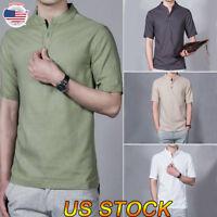 Men Short Sleeve T-Shirt Cotton Comfort Soft Blank Color Tee Plain Casual Top US