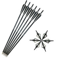 "6pcs 20"" Crossbow Bolts Arrows Archery Hunting Tips Arrowheads Broadheads 100gr"