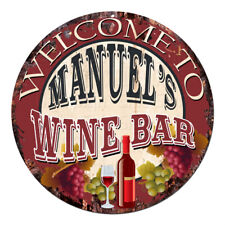 Cmwb-0110 Welcome to Manuel'S Wine Bar Chic Tin Sign Man Cave Decor Gift