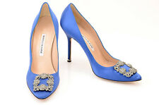 Manolo Blahnik blue 11 41 satin buckle crystal slip on stiletto pump shoe $995