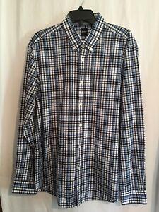 Hugo Boss Shirt Sz XL Long Sleeve Blue Black White Plaid Slim Fit Cotton $128