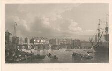 LONDON BRIDGE in 1745 ENGLAND Antique Steel Engraving Art Print