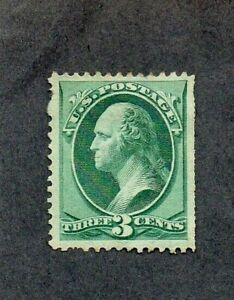 1870-1. 3c BLUE-GREEN 'WASHINGTON' STAMP. UNUSED. NO GUM. STRAIGHT EDGE. SG 160b