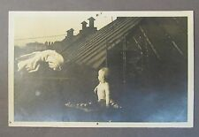 circa 1910 INFANT & SHOJI SCREEN on roof top Alaska real photo postcard RPPC