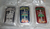 Set Of 3 HELL OF A RIDE Halloween .999 Silver Bars Witch Mummy OOP