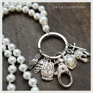 Pearl Armor of God Charm Necklace Lanyard ID Badge Keychain Work Badge Readers
