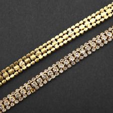 CRYSTAL DIAMANTE RHINESTONES GOLD SEW ON CHAIN SEWING TRIM DECOR