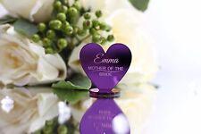 Violet mariage place miroir acrylique coeurs/jeune mariée, honneur, demoiselle d'honneur...