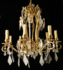 Antique french solid bronze and glass chandelier (1328)