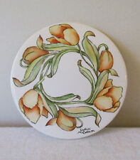 "Handpainted Round Floral Tile 'Tulips' : 6"" Diameter"