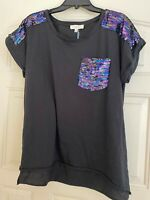 Umgee black sequin pocket T