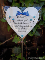 Memorial heart- Grave Ornament- 15cm-Fathers Day without you-personalised-blue