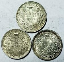 India 1/4 Rupees 1944-1945, 3 Pieces, .1398 Ounce Silver
