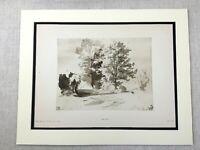 1920 Antico Stampa Van Dyck Woodland Landscape Olandese Vecchio Master Disegno