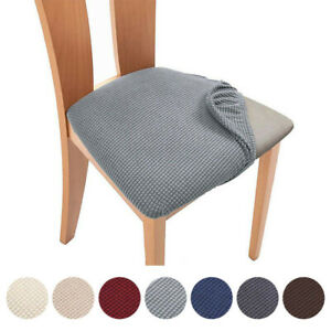 Dining Room Chair Seat Cushion Covers Stretch Elasticated Slipcovers Removable