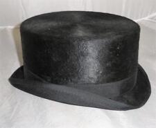 VINTAGE / Antiguo Hecho en USA Negro Piel VESTIMENTA Sombrero - TALLA 57cm (7)