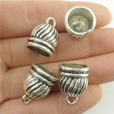 18235*15PCS 17mm Cap Jewelry Bail Chain End Bead Tassels Finding Silver Vintage