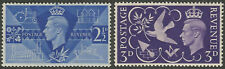 GB KGVI 1946 Victory Set SG491/SG492 very fine unmounted mint