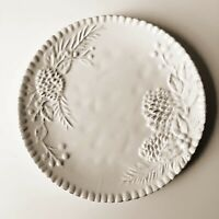 """Artimino Stoneware 9"""" Serving Plate with Embossed Pine Cones Fluted Edge Pottery"""