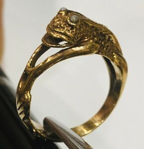 Size O Brass Frog Ring