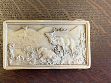 Vintage 1977 Belt Buckle Bergamont Brass Works Deer Elk Hunting