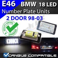 * X 2pc BMW E46 2DR 98-03 18 SMD TARGA UNITÀ CANBUS SENZA ERRORI BIANCO PURO