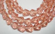 25 Peach Czech Glass Faceted Bell Teardrop Beads 9x7mm