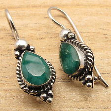 Simulated EMERALD Gems Royal Jewelry Designer Earrings Pretty 925 Silver Plated