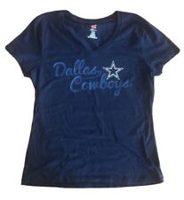 Dallas Cowboys Football Women's Authentic Nfl Apparel V-neck shirt navy S $14.96