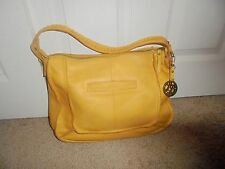 "Lucky Brand Purse Soft Mustard Leather Lg. 11""X16"" With Purse Key Fob Excellent"