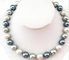 "18""11-12MM NATURAL TAHITIAN BLACK WHITE GRAY ROUND PEARL NECKLACE"