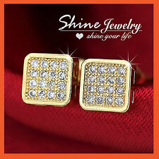 9K YELLOW GOLD GF MENS LADY KIDS SOLID WEDDING CRYSTAL SQUARE STUD EARRINGS GIFT