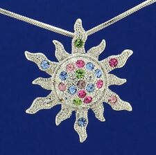 Sun Made With Swarovski Crystal Sunburst Sunshine Necklace Multi Color Pendant