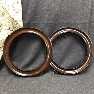 """2 WOOD COLLECTORS PLATE FRAMES Round FITS 9"""" - 9 1/4"""" PLATES"""