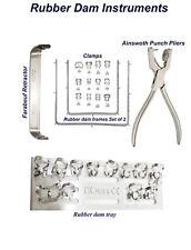 Dental Rubber dam instrument Pinces à digue Clamps Tray frame Farabeuf Retractor