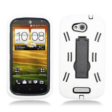 HTC One VX AT&T S Armor Hybrid Case Skin Rugged Cover w/ Stand White Black
