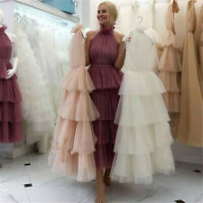 Tiered Tulle High Neck A Line Tea Length Evening Dress Formal Gowns Party Prom