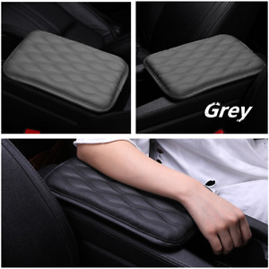 Grey Leather Car Armrest Pad Covers Auto Center Console Pads Durable Universal