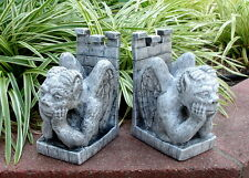 Peering Gargoyle Statue Medieval Bookends Sculpture Pair
