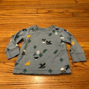 Hanna Andersson Blue Dinosaurs Tree Long Sleeve Organic Cotton T-Shirt Size 2T