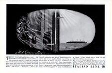 Vintage print ad 1936 Cruise Ship Italian Line Mid Ocean Magic Saturnia Vulcania