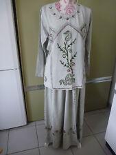 Neues AngebotKleid Folklore,2 tlg Rock und Oberteil, lang Grau Khaki,  bestickt ab Gr.42,44,46 02786ec352