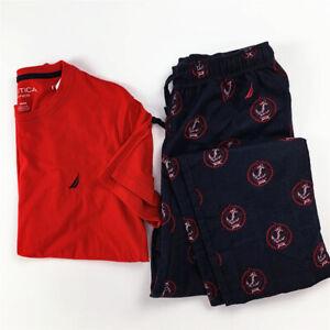 NEW NAUTICA Mens Sleepwear PJ Set Short Sleeve Crew Neck Flannel Pant S-XL