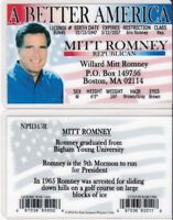 Willard Mitt Romney Boston MA Drivers License FAKE ID card Republican star