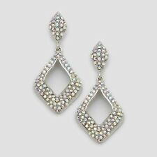 Aurora Borealis clear diamante earrings sparkly bling prom party bridal post 406