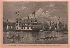 NYACK, NEW YORK, ROWING ASSOCIATION BOAT HOUSE, antique engraving 1882