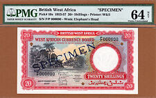 British West Africa 20 Shillings 1957 SPECIMEN Pick-10s Ch UNC PMG 64