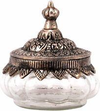 Glasdose ANTICO Dose mit Metalldeckel silber antik orientalisch Wattedose H19cm