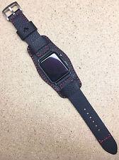 Reloj Brazalete Cuero Negro Lichi Banda Correa para Reloj de Apple 42mm serie 1 y 2